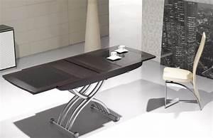 table basse relevable lea wenge et verre noir tables With table de salon transformable en table de salle a manger pour deco cuisine