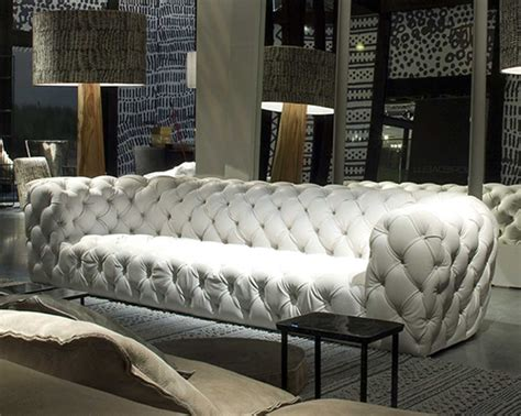 Exceptional Tufted Leather Sofa And Chair By Baxter