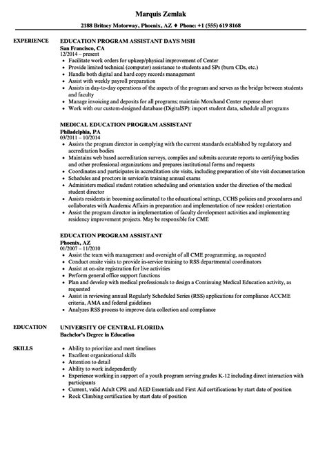 Resume Programs by Education Program Assistant Resume Sles Velvet