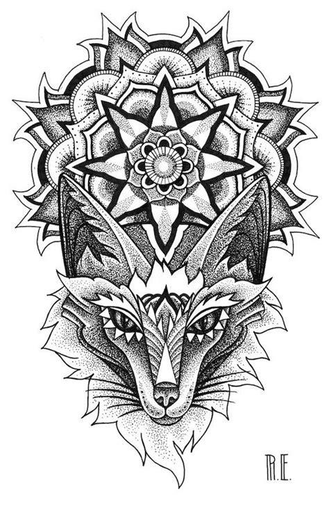 Fox and mandala tatoo dotwork liner | RE / graphic / tatoo / dotwork | Tatouage, Tatoo, Renard