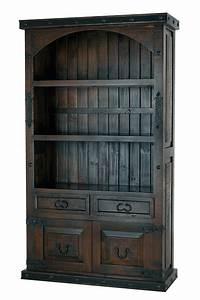 Rustic, Wood, Bookcase, Rustic, Bookcase, With, Cabinet, Doors