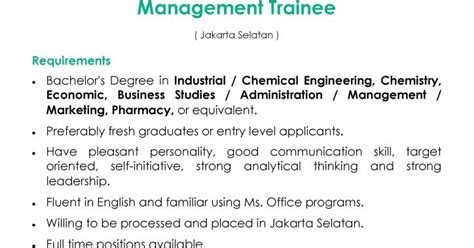lowongan kerja management trainee pt kao indonesia