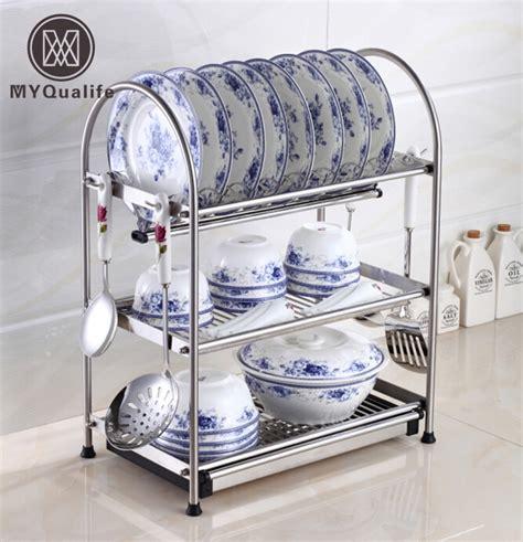 kitchen dish storage desktop stainless steel dish rack plates drainer drying 1554