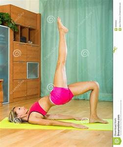 Yoga At Home : cheerful girl doing yoga at home stock photo image 43999602 ~ Orissabook.com Haus und Dekorationen