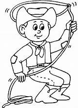 Cowboy Coloring Pages Printable Throwing Lasso sketch template
