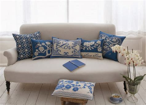 blue sofa pillows decor cushions with a touch of trend