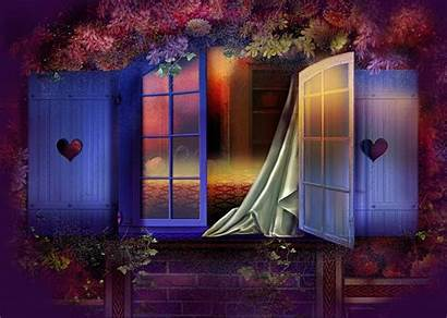 Window Bedroom Spring Night Purple Background Fantasy