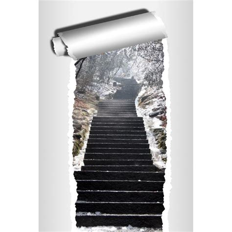trompe l oeil escalier sticker trompe l oeil d 233 co escalier hiver stickers autocollants