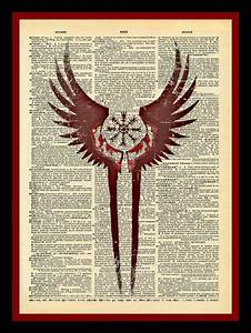 Tatouage Valkyrie Nordique : valkyrie wings protection symbol print vintage dictionary page tattoo pinte ~ Melissatoandfro.com Idées de Décoration