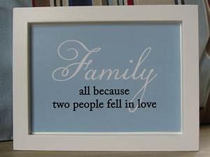 Framed family in love quote wall art felt