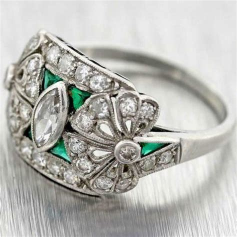 antique emerald diamond ring ebay