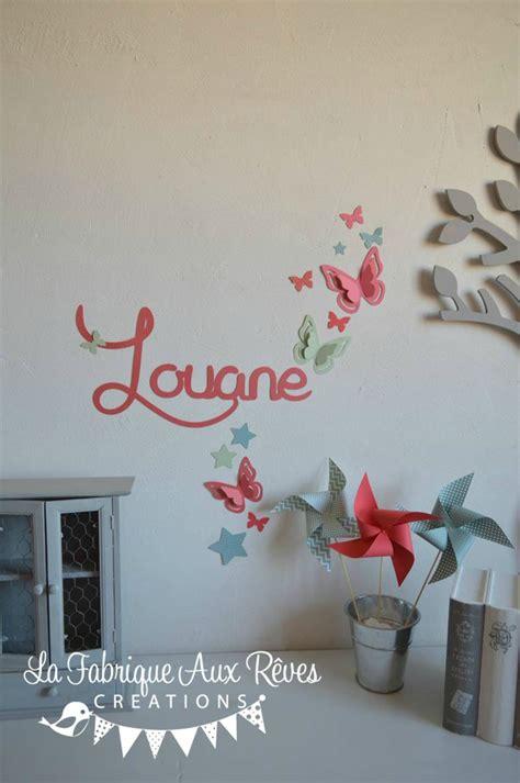 decoration papillon chambre fille stickers pr 233 nom fille corail vert d eau mint papillons d 233 coration chambre fille b 233 b 233 corail
