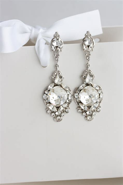 Wedding Earrings by Wedding Earrings Vintage Bridal Earrings Swarovski