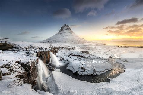 Sunrise At Kirkjufell Mountain With Waterfall At Iceland