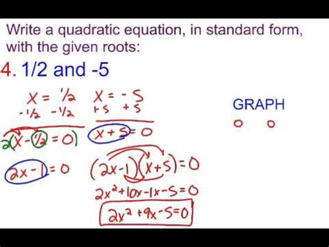 6 3b writing a quadratic equation in standard form with given roots youtube