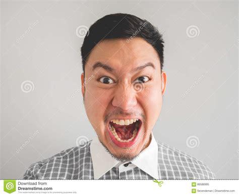 Close Up Of Headshot Of Mad Face Man. Stock Image