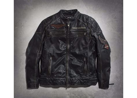 Harley Davidson Mens Annex Leather Motorcycle Jacket Grey