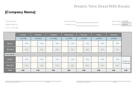 Timesheet With Meal Break Template by Schedules Office