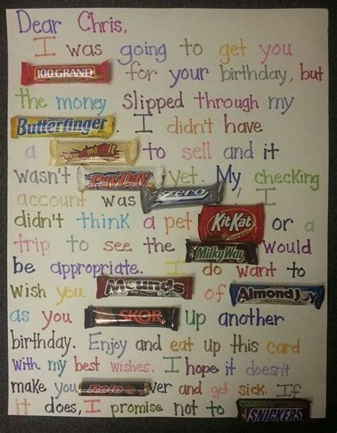 A 60th birthday candy bar card (in large print for the sight impaired!. Image result for homemade 50th birthday cards for men ...