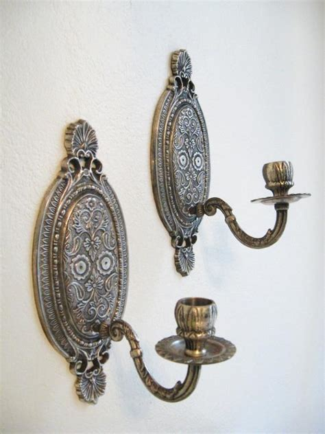 silver candle wall sconces pair antique silver style wall sconce by fabulousmess