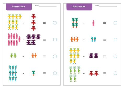 early learning resources alien subtraction worksheets