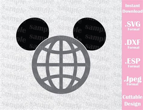 epcot park mickey ears inspired cutting file  svg esp
