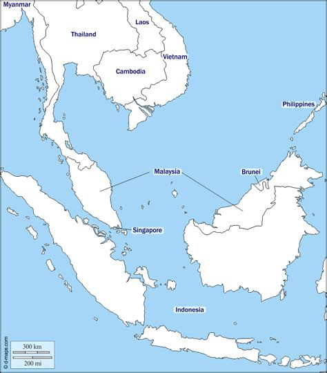 southeast asia  map  blank map  outline map