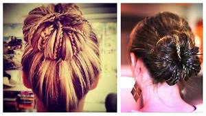 Messy Bun with Braids Updo Hairstyle - YouTube