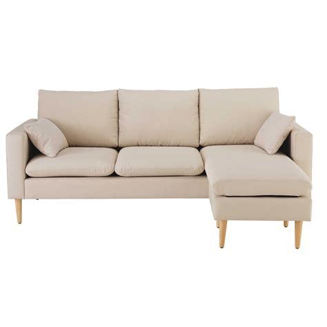 canapé d angle en tissus canapé d 39 angle modulable 3 4 places en tissu beige joey