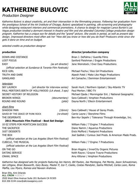 resume katherine bulovic production designer