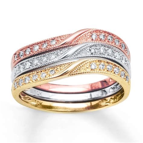 combination of 3 diamond wedding ring bands in multicolor gold jeenjewels