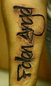 fallen angel tattoo stone imprint lettering fallen With stone tattoo letters