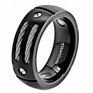 8mm Satin Titanium Ring Black Men39s Wedding Band EBay