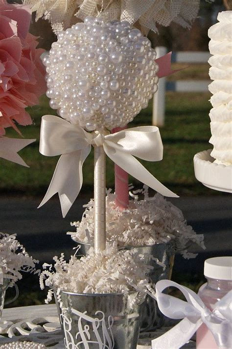pearl topiary centerpiece baptism center pieces