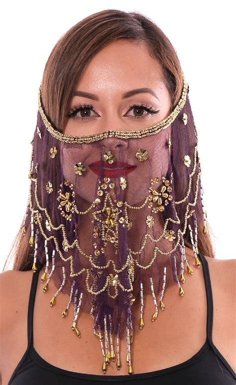 ornate harem belly dancer costume face veil accessory