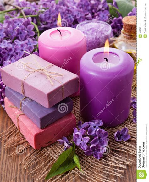 handmade soap candle  lilac stock images image