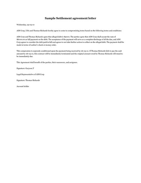settlement agreement letter  debt settlement agreement