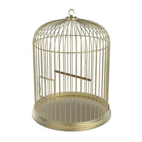 Gabbia Uccello - gabbia di uccello dorata illustrazione di stock immagine