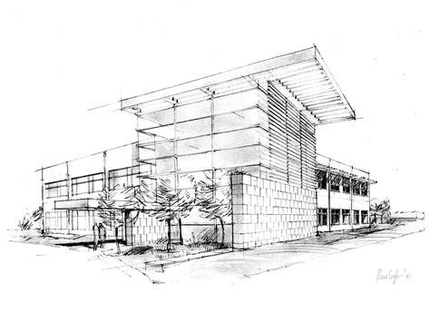 Pencil And In Color Drawn Building Architecture Portfolio