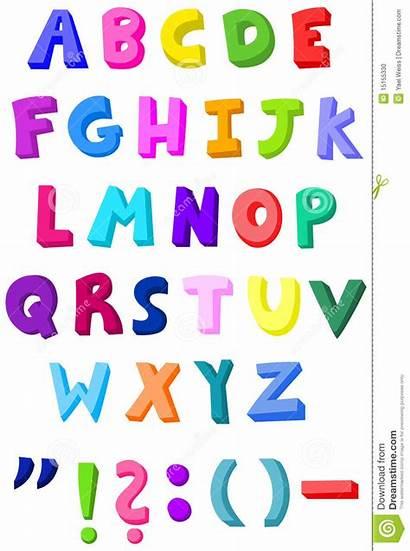 Letters Colorful Vector Alphabet Cartoon Illustration Clip