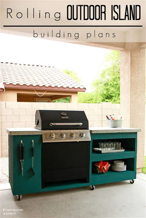rolling kitchen island plans pneumatic addict rolling outdoor island building plans 4869