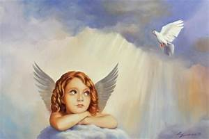 Original ART baby angel, sky, white dove oil pa