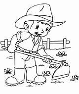 Farmer Coloring Pages Farm Printable Ploughing sketch template