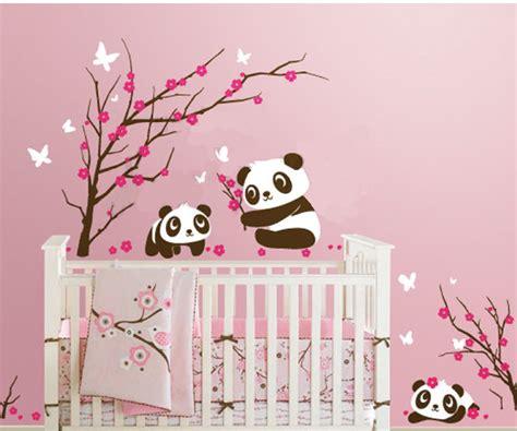 chambre bébé panda 6 panda in cherry blossom leafy dreams nursery decals