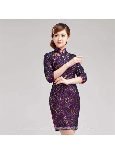 gold floral purple lace cheongsam short modern qipao dress