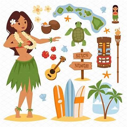 Hawaii Vector Hula Illustration Illustrations Hawaiian Dancing