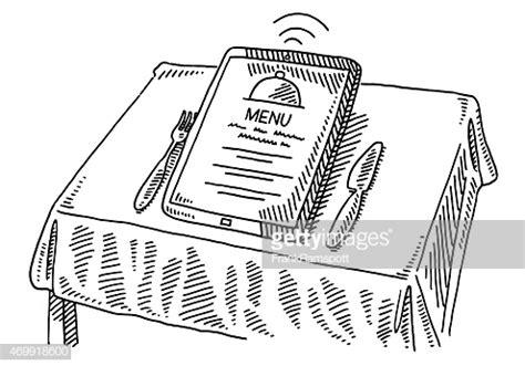 le menu du restaurant la tablette pc table  dessin