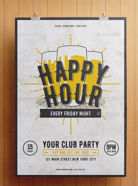 happy hour flyer templates word psd ai eps format