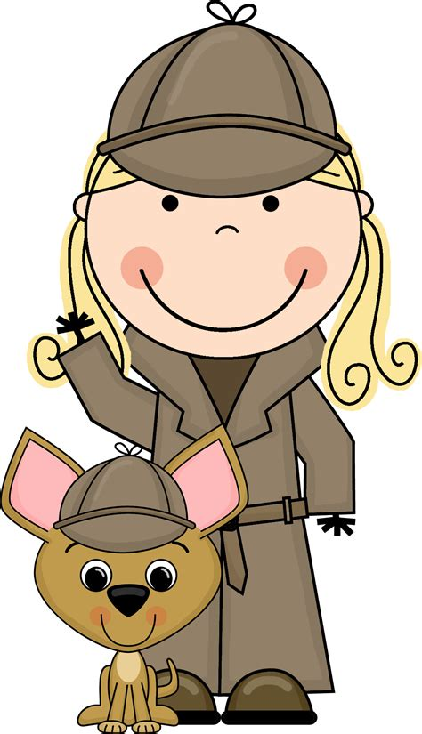 Detective Clip Mystery Clipart Kid Detective Pencil And In Color