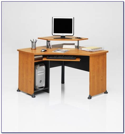 dual monitor corner desk corner desk with monitor riser desk home design ideas